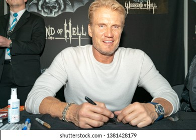 DORTMUND, GERMANY - April 13th 2019: Dolph Lundgren (*1957, Swedish actor) at Weekend of Hell Spring Edition 2019, a two day (April 13-14 2019) horror-themed fan convention.