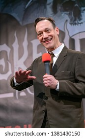DORTMUND, GERMANY - April 13th 2019: Ted Raimi (*1965, American actor, Ash vs Evil Dead, Evil Dead, Army of Darkness) talks about his experiences in the movie industry at Weekend of Hell  2019