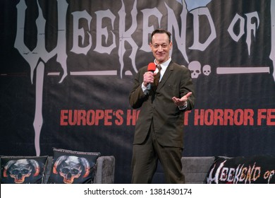 DORTMUND, GERMANY - April 13th 2019 Ted Raimi (*1965, American actor, Ash vs Evil Dead, Evil Dead, Army of Darkness) talks about his experiences in the movie industry at Weekend of Hell  2019