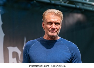 DORTMUND, GERMANY - April 14th 2019: Dolph Lundgren (*1957, Swedish actor) at Weekend of Hell Spring Edition 2019, a two day (April 13-14 2019) horror-themed fan convention.