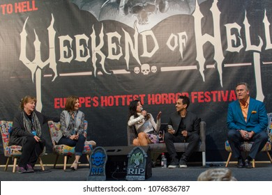 DORTMUND, GERMANY - APRIL 8: (L to R) Actors Betsy Baker, Theresa Tilly, Dana DeLorenzo, Ray Santiago & Bruce Campbell, Evil Dead panel at Weekend of Hell, a two day horror-themed fan convention. - Shutterstock ID 1076836787