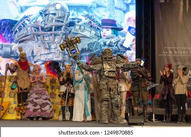 DORTMUND, GERMANY - December 1st 2018: Cosplayer Wasteland Weber portrays the character Fallout Power Armor from Fallout (game) at German Comic Con Dortmund, a two day fan convention