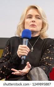 DORTMUND, GERMANY - December 1st 2018: Erika Eleniak (*1969, American actress of Ukrainian descent - Baywatch) at German Comic Con Dortmund, a two day fan convention