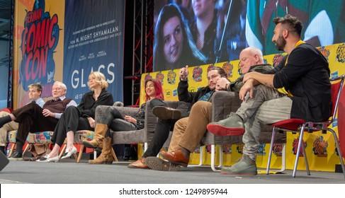 DORTMUND, GERMANY - December 1st 2018: Jack Gleeson, Julian Glover, Gwendoline Christie, Natalia Tena, Daniel Portman and Ron Donachie at German Comic Con Dortmund, a two day fan convention