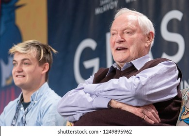 DORTMUND, GERMANY - December 1st 2018: Jack Gleeson and Julian Glover at German Comic Con Dortmund, a two day fan convention