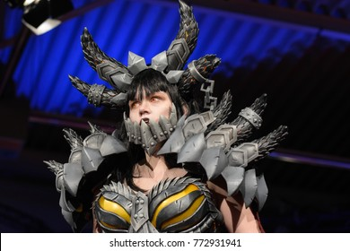 Dortmund, Germany - December 9th 2017: World of Warcraft Deathwing Cosplay in Comic Con Europe Finals Contest at German Comic Con