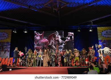 Dortmund, Germany - December 9th 2017: Cosplayer Finalists at German Comic Con Dortmund 2017 Cosplay Contest (Europe Finals).