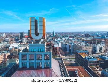 Dortmund / Germany - February 2020: Famous U-Tower - the center of arts and creativity, Dortmund city center on the background