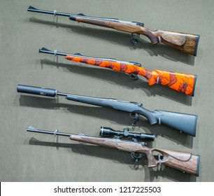 Dortmund Germany, January till February 2018 - Westfalenhalle Dortmund - European biggest hunting fair - Mauser display with variety of available rifles