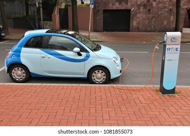 DORTMUND, GERMANY - JULY 15, 2012: Electric car charging station in Dortmund, Germany. Germany announced it aims to have 1 million electric cars on roads by 2020.