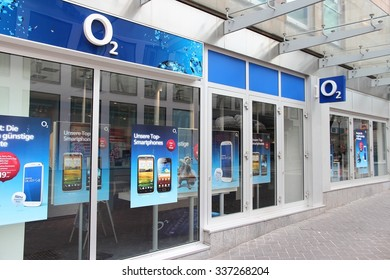 DORTMUND, GERMANY - JULY 15, 2012: O2 mobile phone store in Dortmund, Germany. O2 had 3.745 billion EUR revenue in 2009.