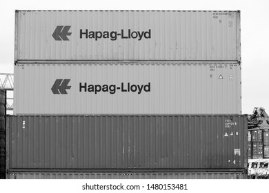 DORTMUND, GERMANY - JULY 16: Hapag Lloyd containers in Dortmund Port on July 16, 2012 in Germany. It is the largest canal port in Europe and had shipped almost 3 million tons of freight in 2007.