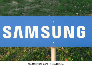 Dortmund, Germany - July 21, 2017:  Samsung sign on a panel. Samsung is a South Korean multinational conglomerate company headquartered in Samsung Town, Seoul