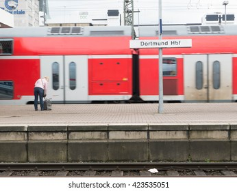 Dortmund, Germany - MAY 2016 : A commuter train stops at Dortmund Hauptbahnhof where  is the main railway station in Dortmund, North Rhine-Westphalia, Germany