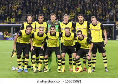 DORTMUND, GERMANY - OCT 1: BVB Team prior to the Champions League match between Borussia Dortmund & Olympique de Marseille, final score 3-0, on October 1, 2013, in Dortmund, Germany.