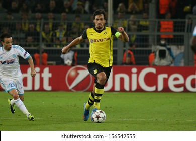 DORTMUND, GERMANY - OCT 1: Mats Hummels (BVB) during a Champions League match between Borussia Dortmund & Olympique de Marseille, final score 3-0, on October 1, 2013, in Dortmund, Germany.