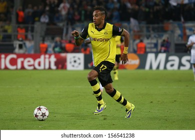 DORTMUND, GERMANY - OCT 1: Pierre-Emerick Aubameyang (BVB) during a Champions League match between Borussia Dortmund & Olympique de Marseille on October 1, 2013, in Dortmund, Germany.