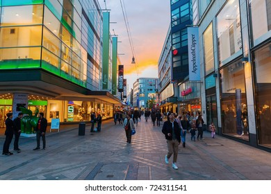 Dortmund, Germany - September 15, 2017: shopping street with unidentified people in Dortmund, 8th largest city in Germany and administrative, commercial and cultural centre of the eastern Ruhr area