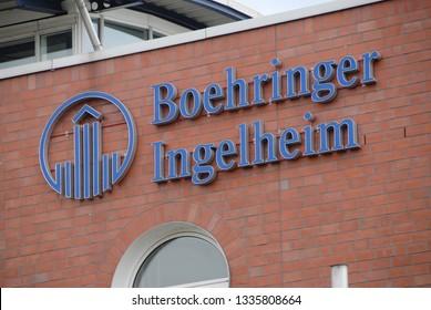 Dortmund, North Rhine-Westphalia / Germany - July 14, 2007:  Boehringer Ingelheim logo at the entrance of Boehringer Ingelheim microparts GmbH in Dortmund, Germany