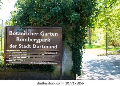 Dortmund, Ruhr Area, North Rhine Westphalia ,Germany - April 16 2018: Romberg Park Sign at the entrance