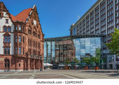 Dortmund - View to Townhall,  the new Townhall Building reflects in the Glas the old Part of the Townhall, North Rhine Westphalia, Germany, Dortmund, 03.05.2014