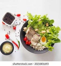 Dory fillet salad. Healthy food