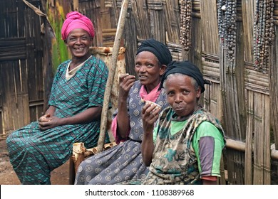Dorze people. Women drink coffee. 26th December 2015. South Ethiopia. Africa.