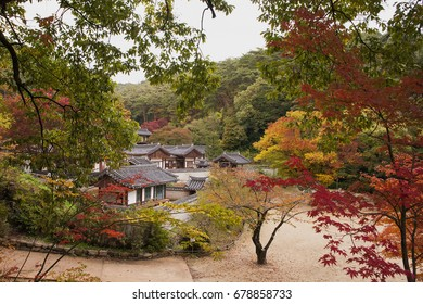 Dosanseowon Confucian Academy in Andong, South Korea-October, 2016:It was a confucian school in the past. In 1574, his literary men and Yulin(Confucian) set up to commemorate the virtues of Lee Hwang.