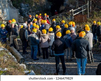 Dossena Italy 1 December 2018: Evacuation exercise for environmental disasters