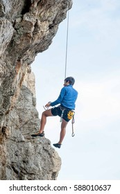 dossena Italy February 2017: natural rock gym equipped for aprendere the secrets of climbing