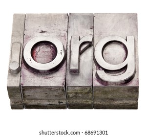 dot org - non-profit organization internet  domain extension in vintage grunge metal letterpress printing blocks, stained by color inks, isolated on white