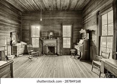 DOTHAN, ALABAMA - JANUARY 17, 2015 : Interior of an old farmhouse in the historic landmark park near Dothan, Alabama. HDR processed.