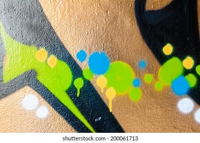 Dots and spots graffiti closeup