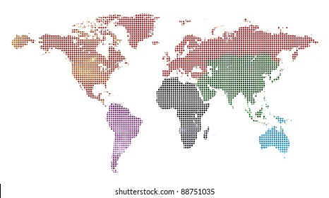 dotted and painted colorful world map isolated on white