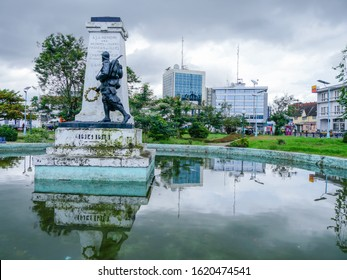 Douala, Littoral/Cameroon - January 10th 2020: Colonial status in memory of French veterans who died during the conquest of Cameroon in the centre of Douala - Cameroon.
