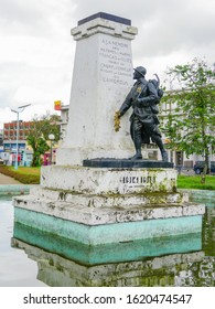 Douala, Littoral/Cameroon - January 10th 2020: View on a colonial status in memory of French veterans who fell during the conquest of Cameroon in the centre of Douala - Cameroon.