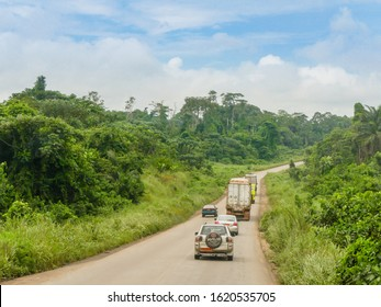 Douala, Littoral/Cameroon - January 15th 2020: The main road to travel from Yaoundé to Douala by car in Cameroon.