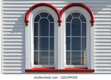 double arched windows on historic church, Placentia, Newfoundland, Canada