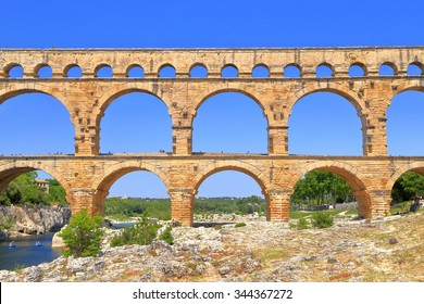 Double arches of the Roman aqueduct of Pont du Gard, Nimes, France