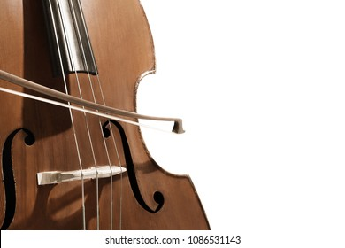 Double bass. Contrabass with bow musical instrument. Closeup cello