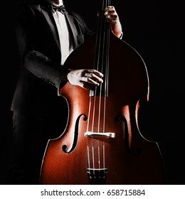 Double bass player playing contrabass musical instrument Classical musician