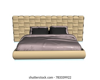 Double bed 3D rendering