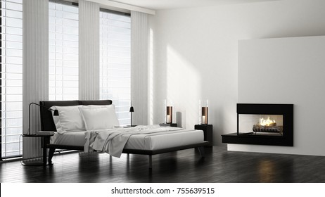Double bed in modern bright minimalist bedroom with fireplace. 3d Rendering