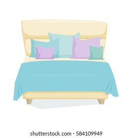 Double bed and pillow with blanket in modern style. Double bed cartoon vector illustration. Bedroom furniture. Leather duvet bed icon isolated on white