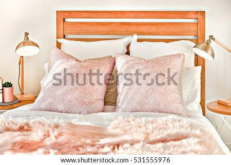 Double Bed Pillows Beside Flashing Lamps Stock Photo Edit Now