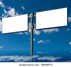Double billboard without the inscription against a sky with clouds