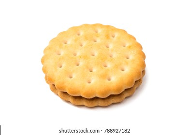 double biscuit sandwich isolated on white background
