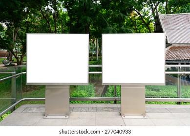 Double blank advertising panel.