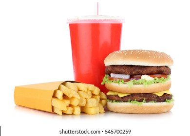 Double burger hamburger and fries menu meal combo drink isolated on a white background