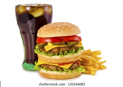 Double cheeseburger, french fries and cola on a white background